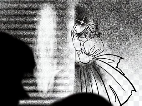 Shojo漫畫金發女郎垂直滾女士埋伏的恐怖