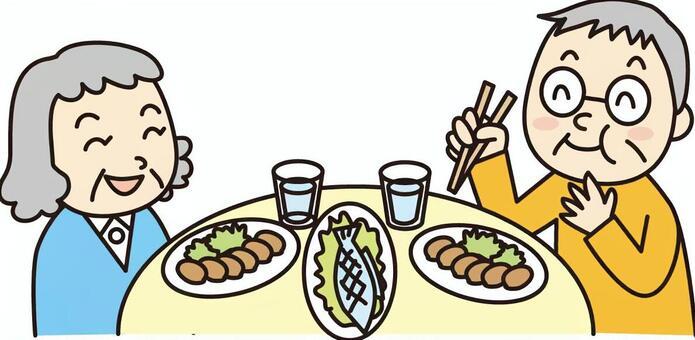 Elderly couple meal