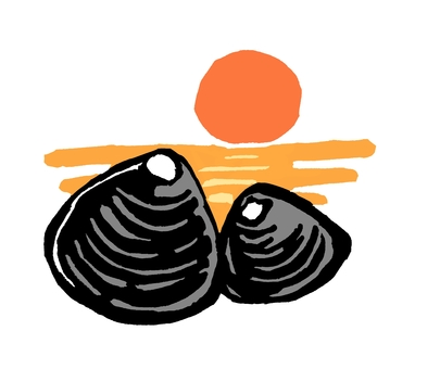日落和淡水蛤蜊色版