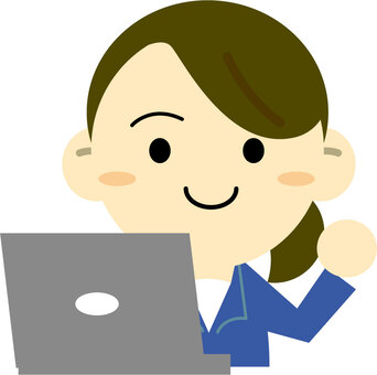A woman posing in front of a personal computer