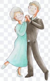 Old men and women playing ballroom dancing