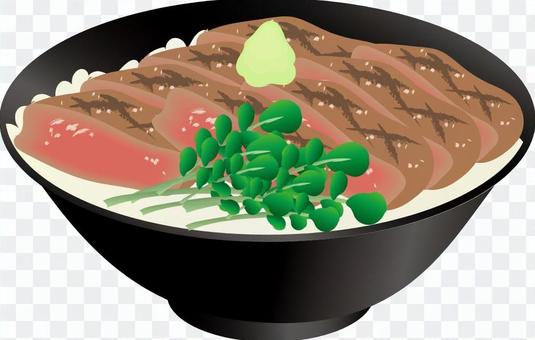 Rice bowl with steak
