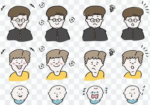 各種年齡的男孩各種面部表情-1