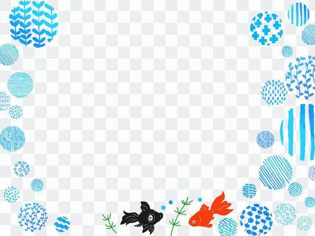 金魚,氣泡和水生植物的插圖框架2