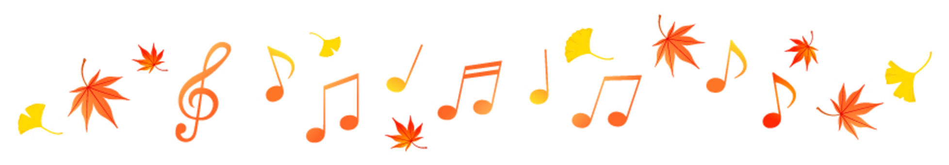 Musical note and autumn leaves line 2