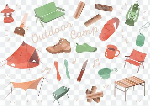 Material set of cute camping equipment