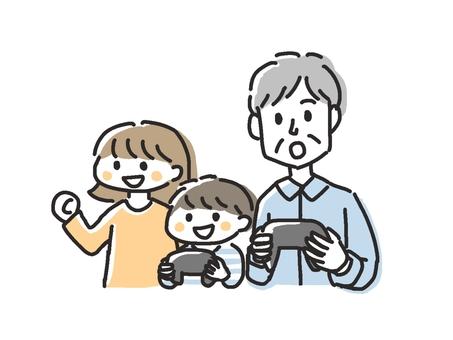 Grandpa and grandson enjoying video games