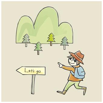 Illustrations, mountain climbing, foothills, illustrations