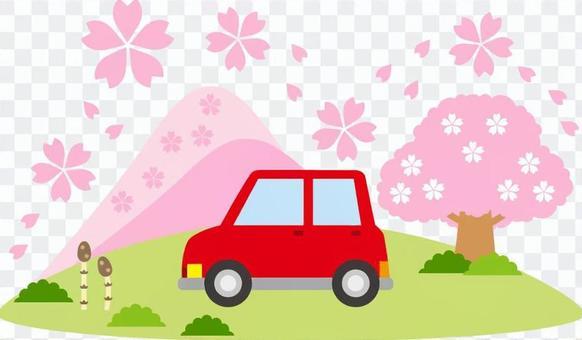 春天和汽车的山