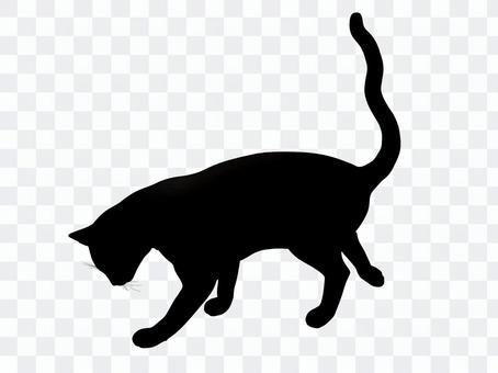 虫を捕まえる猫のシルエット