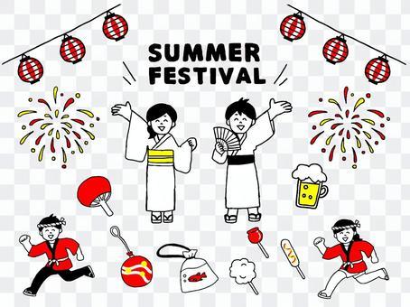 夏季節日浴衣字符集(簡單)