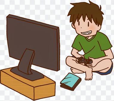 男孩玩遊戲