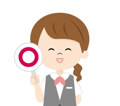 Female receptionist_round mark