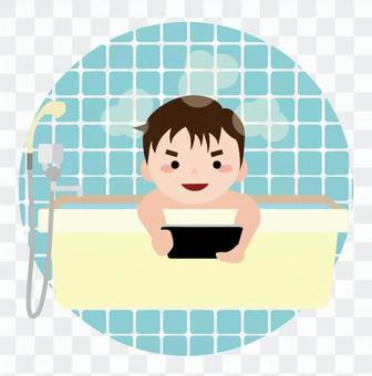 在洗澡的平板操作
