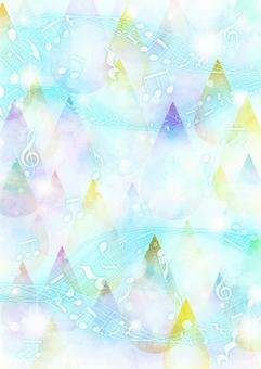 水彩風格滴和音符背景垂直