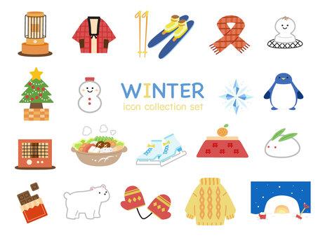 Cute winter icon set