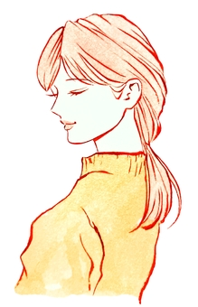Hand-painted watercolor profile of a smiling woman