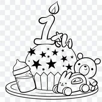 1歲的生日蛋糕線畫按年齡繪畫