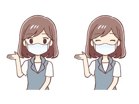 信息 制服女面具,微笑(上半身)