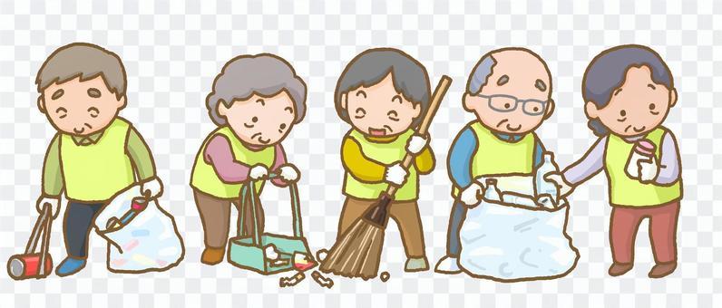 地域清掃しているお年寄り