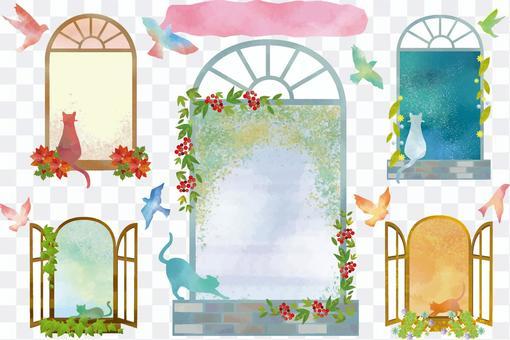 Watercolor wind window frame