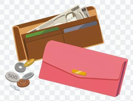 兩個錢包和現金(粉紅色和棕色