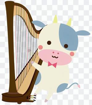ハープを演奏する牛さん