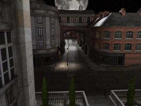 Landscape of the streets of old London (fantasy moonlit night)