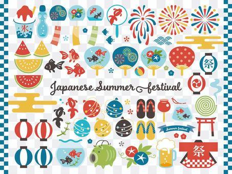 日本の夏のアイテムセット.2