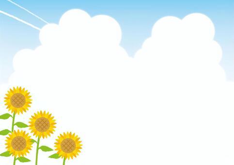 背景(向日葵和雲層)