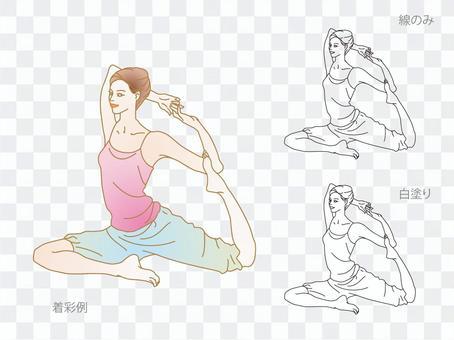 做在瑜伽的美麗的婦女單腿鴿子姿勢