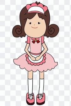 女服務員粉紅色