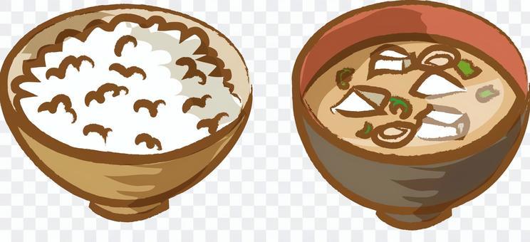 米飯和味噌湯