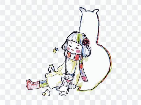羊駝,女孩,貓和鳥