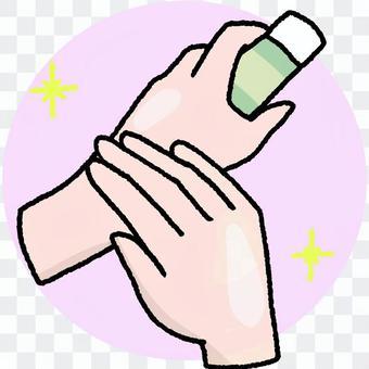 Apply hand cream ②