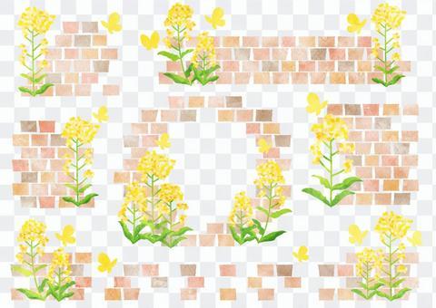 水彩風菜の花とレンガのフレームセット