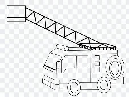 火,黑色和白色的消防车