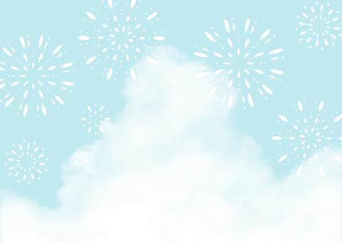 Refreshing summer background of cumulonimbus and fireworks