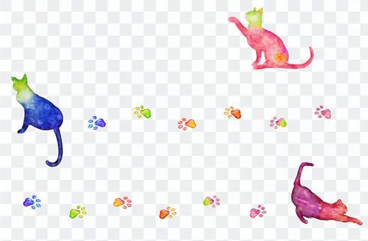 貓水彩繪畫統治了線和象集合