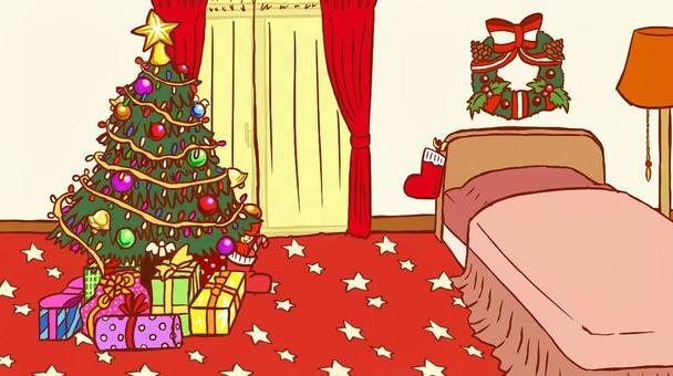 Christmas room (with lace curtain)