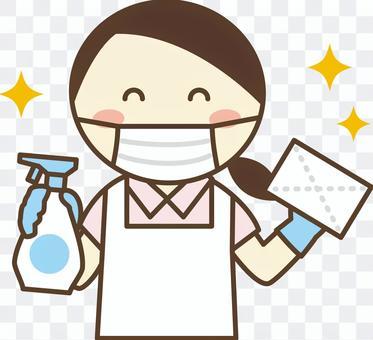 員工採取預防傳染病的措施2_抹布和消毒劑