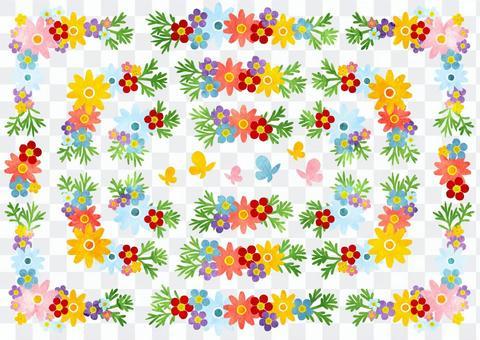 水彩風格七彩花朵喇叭框架集