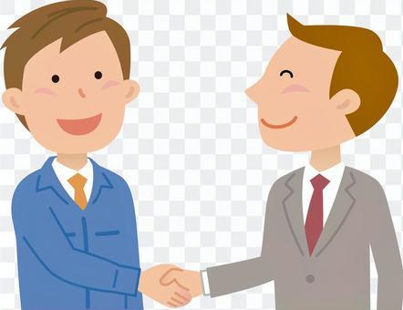 70118.作業服,男性握手1