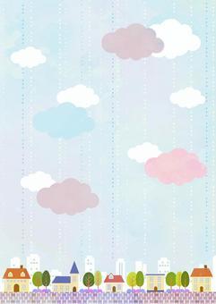 水彩風格的雨城垂直
