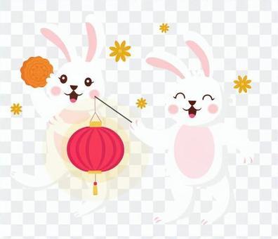 慶祝中秋節的兔子