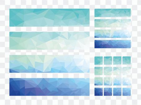 Blue polygon pattern banner frame material
