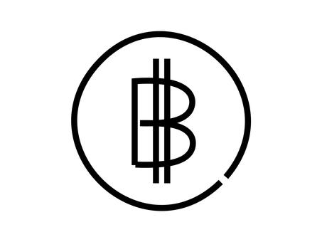 鬆散的手寫比特幣圖標:黑線