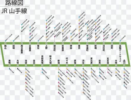 山手線路線図-乗換 高輪ゲートウェイ対応