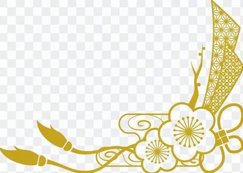 Plum Japanese pattern frame _ gold