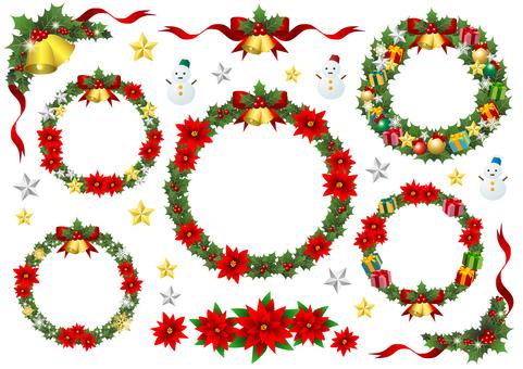 Green holly Christmas wreath set